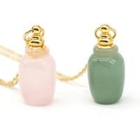 new rose quartz natural stone necklace exquisite perfume bottle pendant charms couple banquet wear men women wholesale gifts