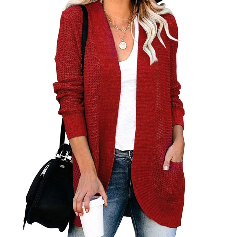 Women Chunky Knit Solid Cardigan Long Sleeve Rounded Hem Sweater Coat Pockets enlarge