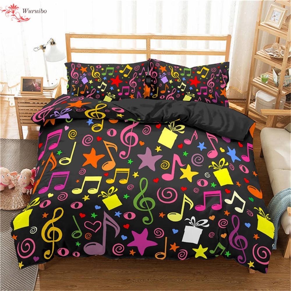 Homesky ثلاثية الأبعاد طقم ملائات سرير مطبوع ملون الموسيقى ملاحظة ثلاثة أضعاف طاقم العمل على 3 قطع حاف طقم أغطية المنسوجات المنزلية المفارش