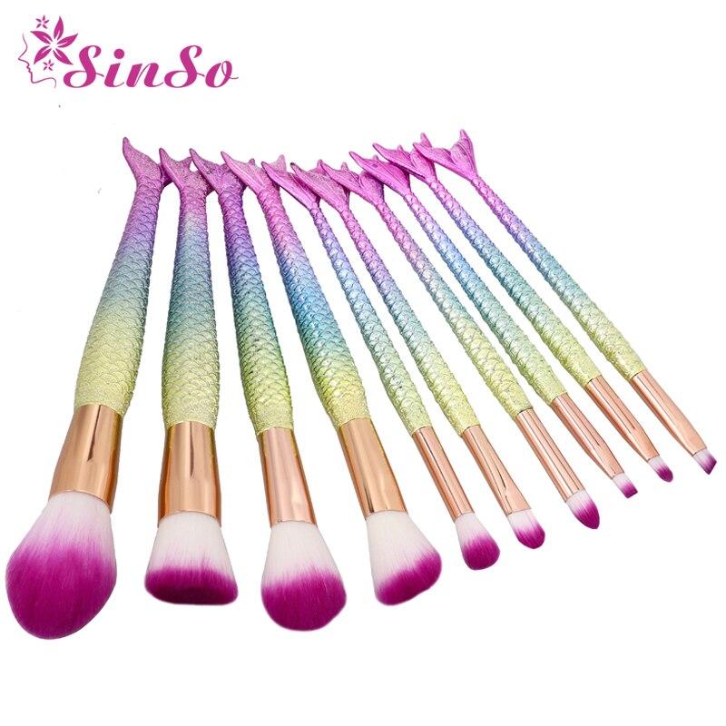 SinSo, juego de brochas de maquillaje de sirena, 1/10 Uds., herramienta cosmética de belleza, brocha de maquillaje para colorete, brocha para sombra de ojos, delineador de ojos
