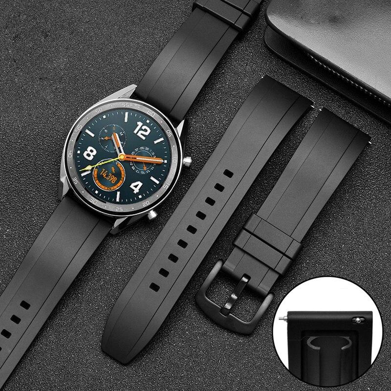 Pulseira de borracha, pulseira de relógio de 20mm 22mm 24mm esporte à prova dágua, pulseira de borracha, correia para amazfit huawei gt 2 honra watch magic