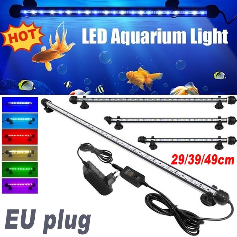 29-49CM 220V UE energía acuario luz LED impermeable pecera luz bajo el agua peces lámpara decoración acuarios lámpara de planta