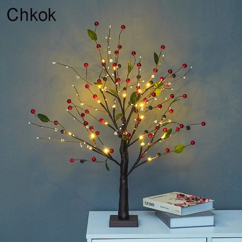 55cm Christmas LED Cherry Tree Light Artificial Tree Light Wedding Decoration Light Desktop Decoration Tree Light Night Light