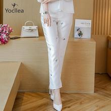 Pantalones largos hasta el tobillo estilo chino para mujer Hanfu otoño mujer bordado cheongsam pantalones chica joven casual pantalón blanco