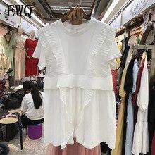 [EWQ] 2020 Spring Summer Round Collar Short Sleeve Solid Patchwork Ruffles Casual Pullvoers Dress Women Fashtion Tide AH250