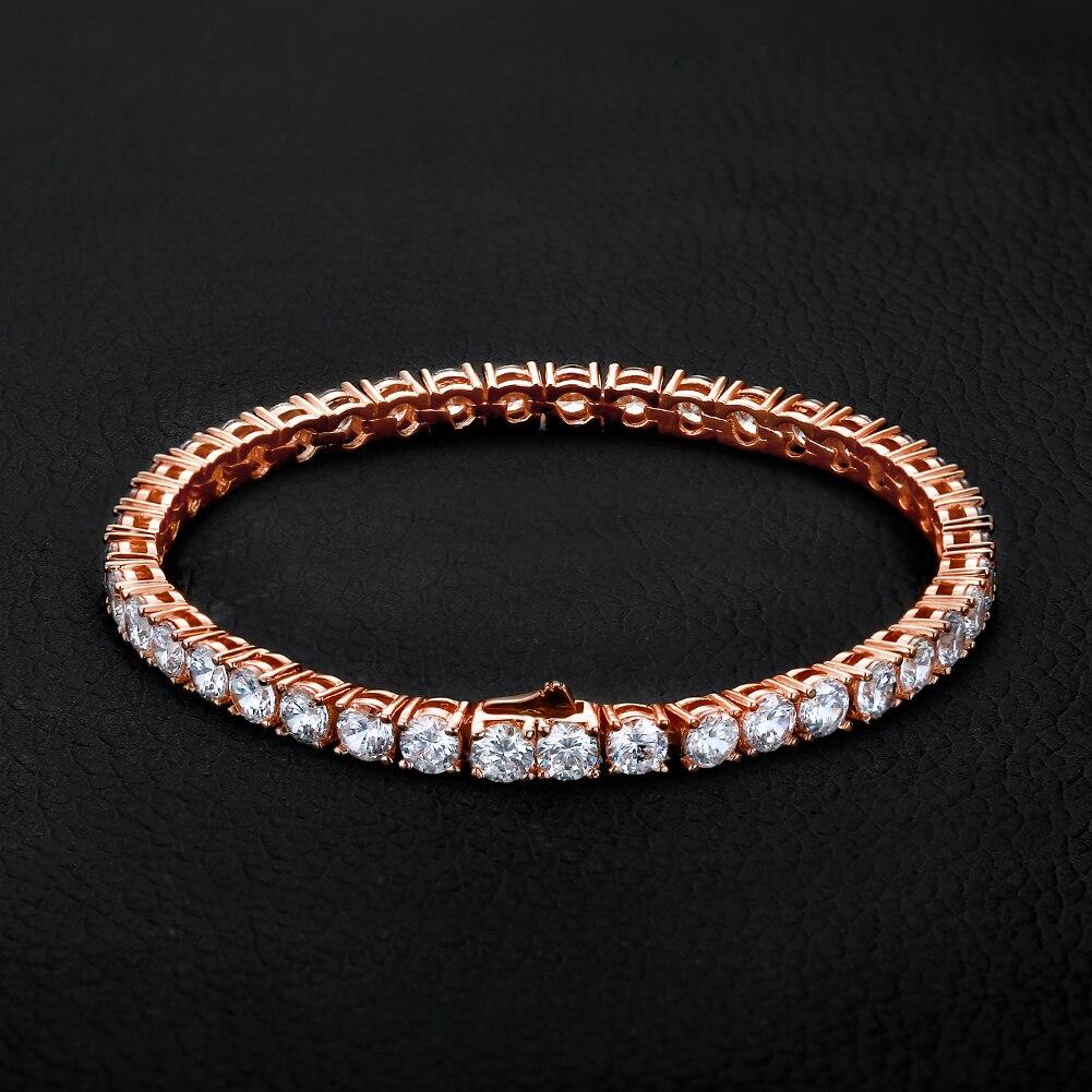 OTIY925 Silver Rose Gold 3mm GRA Certificated VVS Moissanite CZ Stones Iced Out Bling Tennis Bracelet
