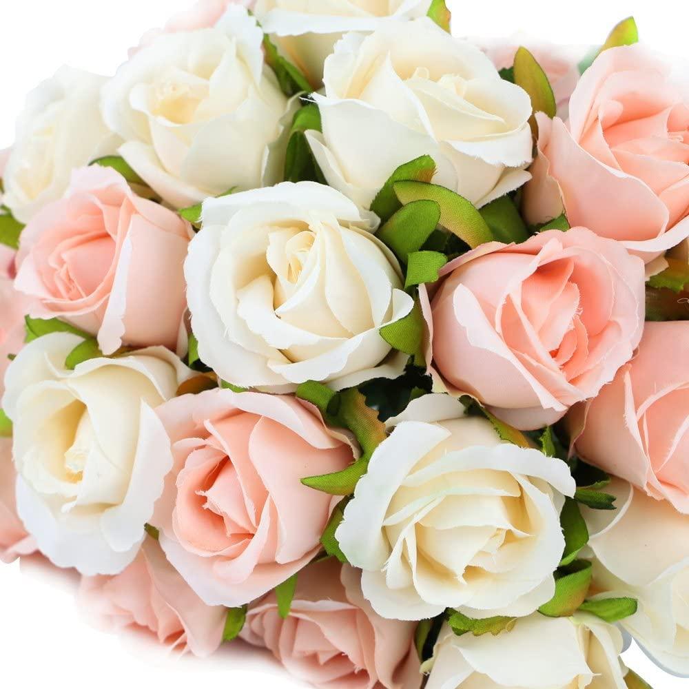 12 cabeças de seda artificial rosa flores bouquet branco rosa vermelho para casamento festa de noiva casa jardim festival barra decoração
