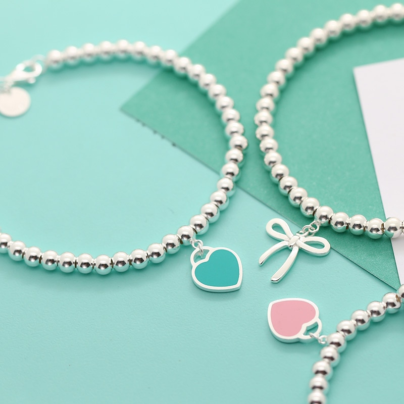 Ms S925 pure silver enamel classic heart-shaped tags 4 m bead bracelet with America and Europe pop w