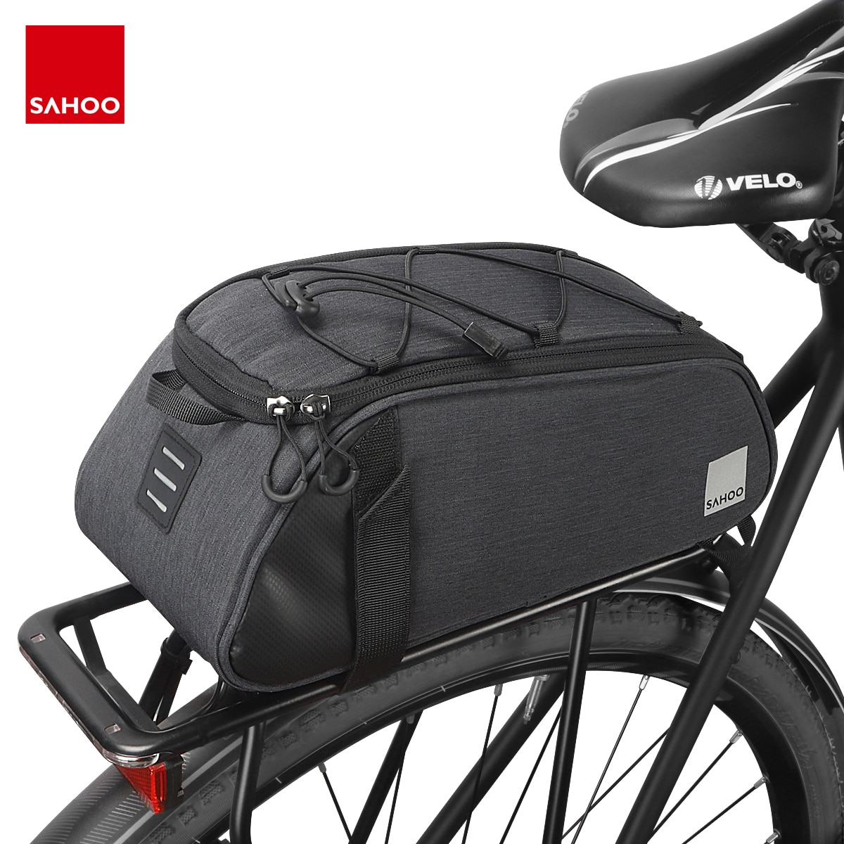 Sahoo 141465-SA bicicleta de montaña, bicicleta, bicicleta, portaequipajes del asiento trasero, bolsa de maletero, bolso de hombro