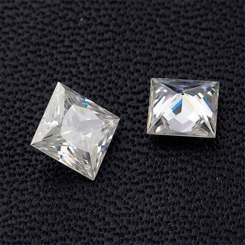 رائجة البيع قطع الأميرة مربع Moissanites 5x5mm-10x10mm 1ct ~ 6ct D اللون الأبيض Moissanites فضفاض الماس حجر VVS اختبار مرت