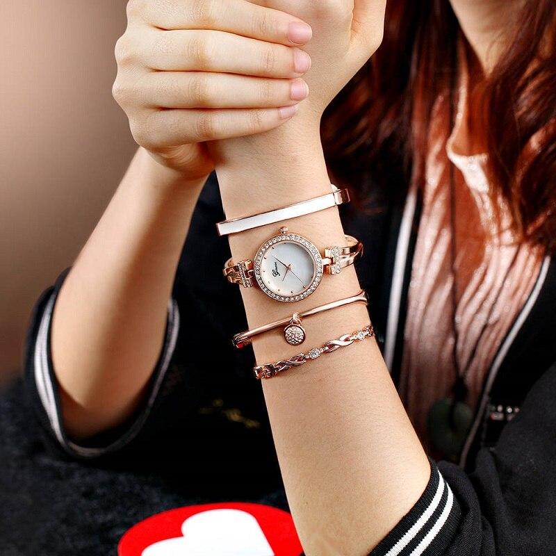 Fashion Luxury Diamond Women Watches Quartz Wrist Watch Ladies Watch Rose Gold Clock Bracelet Watches womens relogio feminino enlarge
