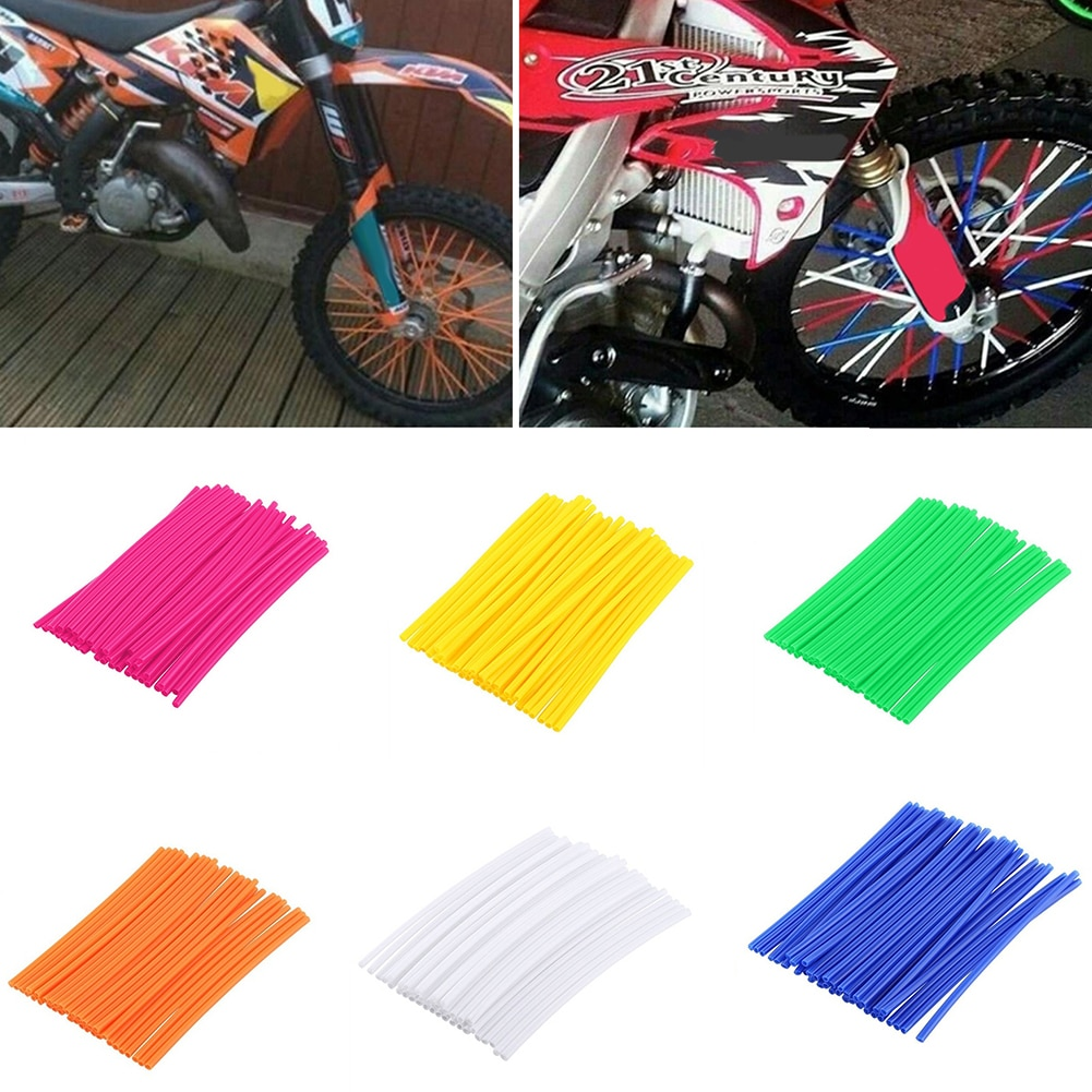 36Pcs Bike Wheel Spoke Trim Wrap Cover Decoration Protector Motorcycle Wraps Rims Skin Decor