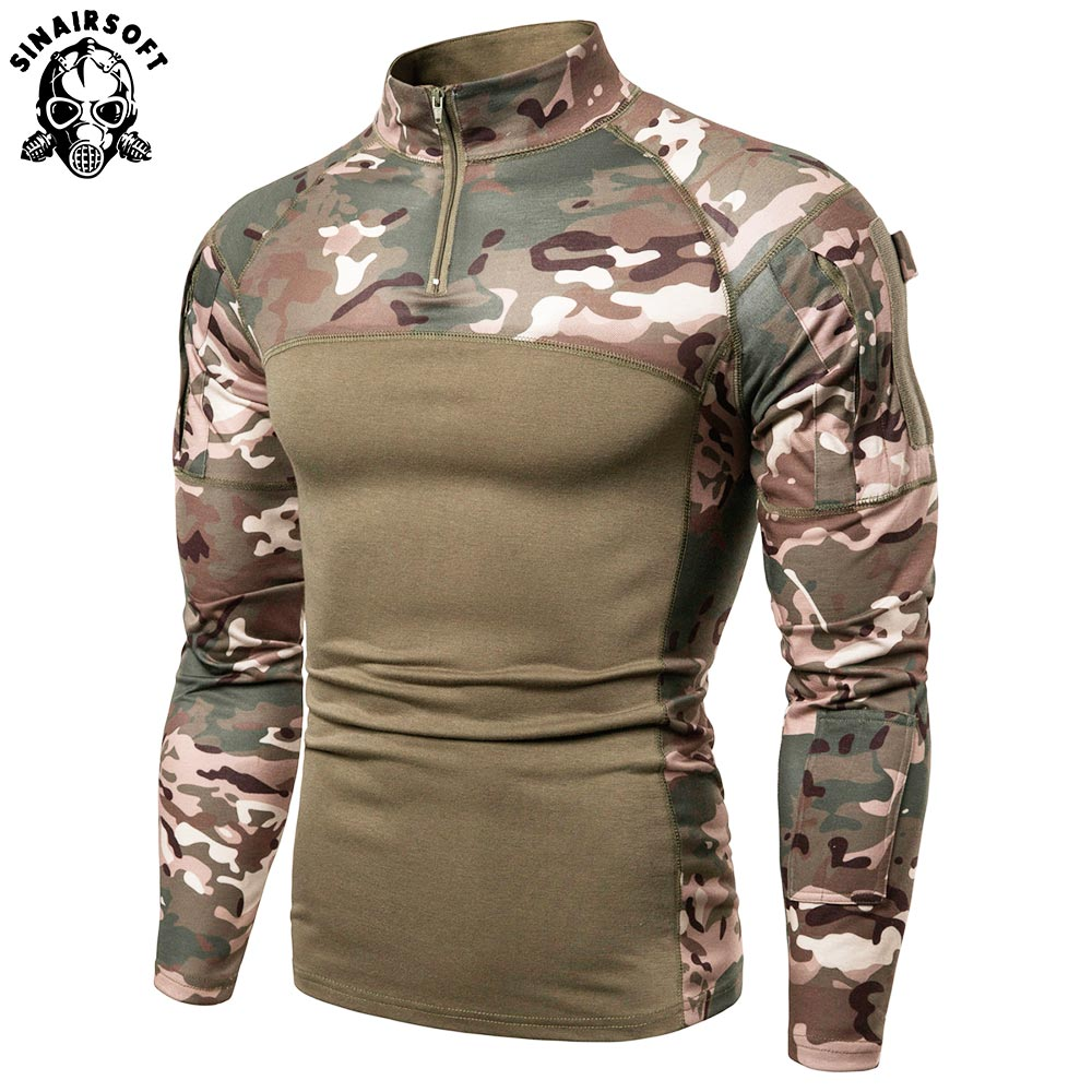 SINAIRSOFT hombres verde militar Rip-stop táctico camisetas de manga larga camuflaje senderismo camiseta otoño caza Paintball ropa