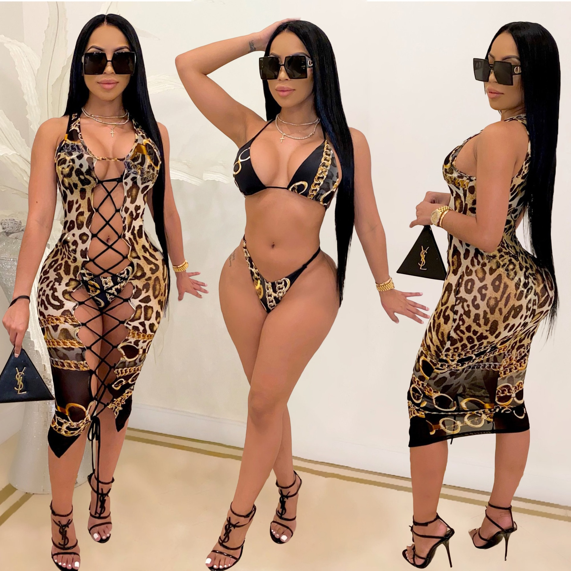 Adogirl Bikini Wear Leopard Print Women Sexy 3 Piece Set Dress Swimsuit Underwear Lace Up Hollow Out Sleeveless Midi Cover-ups
