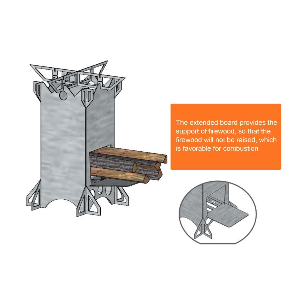 Estufa de madera plegable de acero inoxidable portátil, práctica estufa de cohete plegable clásica multifuncional