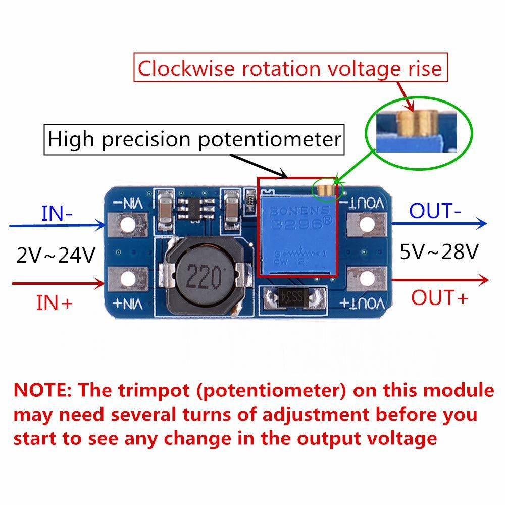 Módulo de Boost ajustable de DC-DC, módulo de Elevador de potencia de 2V-24V a 5V, 9V, 12V y 28V, módulo de potencia MT3608