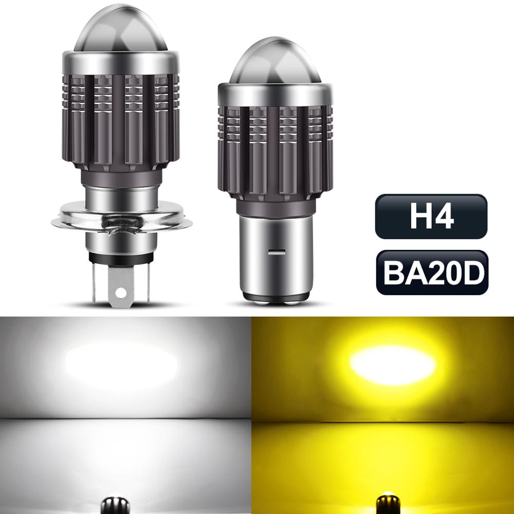 f4 motorcycle electric vehicle led bulb h4 far near integration h6 super bright hs1 refitting ba20d double claw three claw 1pc Super Bright CSP 10000LM H6 BA20D H4 Led Moto Motorcycle Headlight Bulb Spotlight Motos Accessories Hi Lo Lamp Fog Light 12V