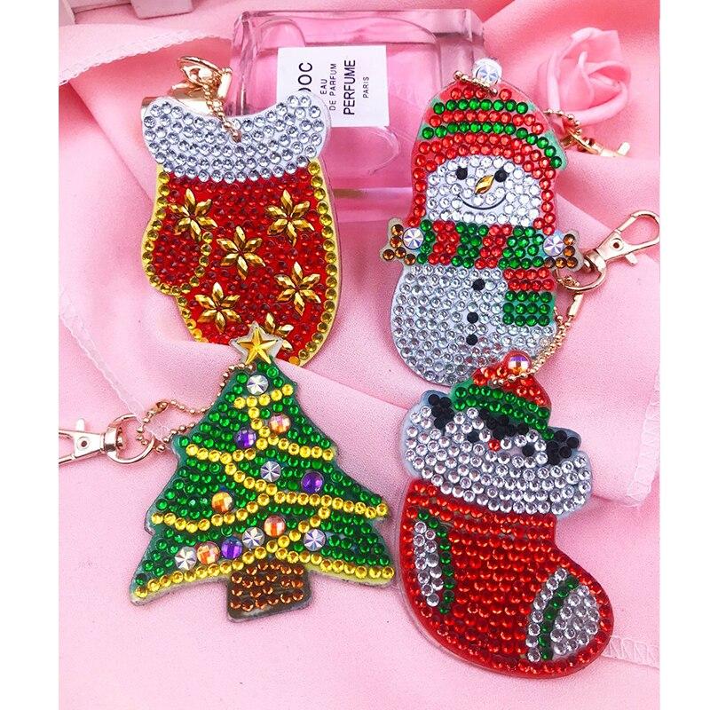 LLavero de pintura de diamantes 5d Diy para regalo de árbol de Navidad, llavero de gato unicornio, 4 juegos con bolsa de envío gratis, adornos de joyería DS01