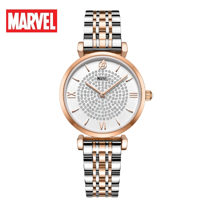 Disney Official Marvel The Avengers Women Business Casual Wristwatches Sapphire Glass Bling Stars Sky Elegant Ladys Gift Clock