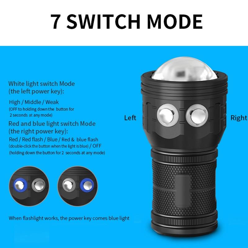 12800mAh IPX8 Powerful Diving Flashlight Photography LED Light Underwater 80m COB dive Torch Lamp multifunction Scuba dive light enlarge
