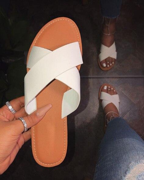 PU sandales pour femmes, chaussures de plage dété, blanc et noir, pantoufles plates pour lextérieur, tendance décontracté