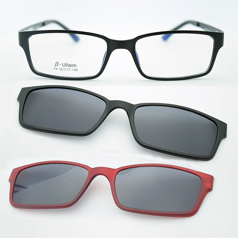 B-Ultem Ultra-lighBt Tungsten Titanium eyeglass Frame 3D Magnet Clips on Sunglasses Myopia Functiona