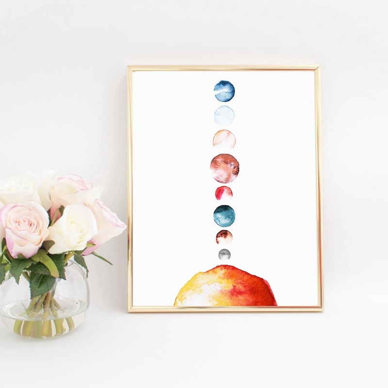 Solar System Poster Planet Print Watercolor Sun Kids Room Wall Art Canvas Painting Wall Picture for Living Room Home Decor