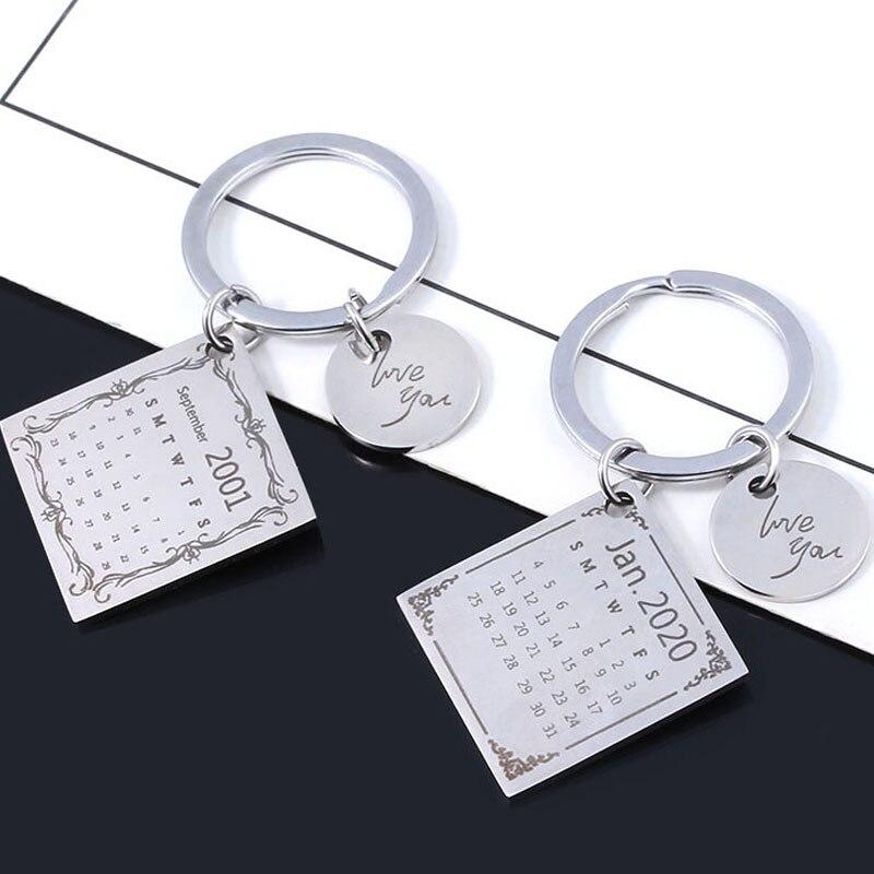 Personalidade personalizado calendário chaveiro gravado data símbolo do coração chaveiro assinatura calendário laço chaveiro presente do dia dos namorados