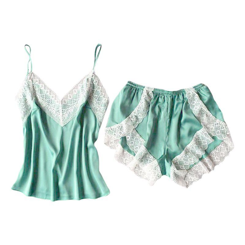 Women Imitation Silk Sexy Lingerie Set Spaghetti Strap Camisole Side Split Shorts Lace Patchwork Pajamas Solid Color Sleepwear