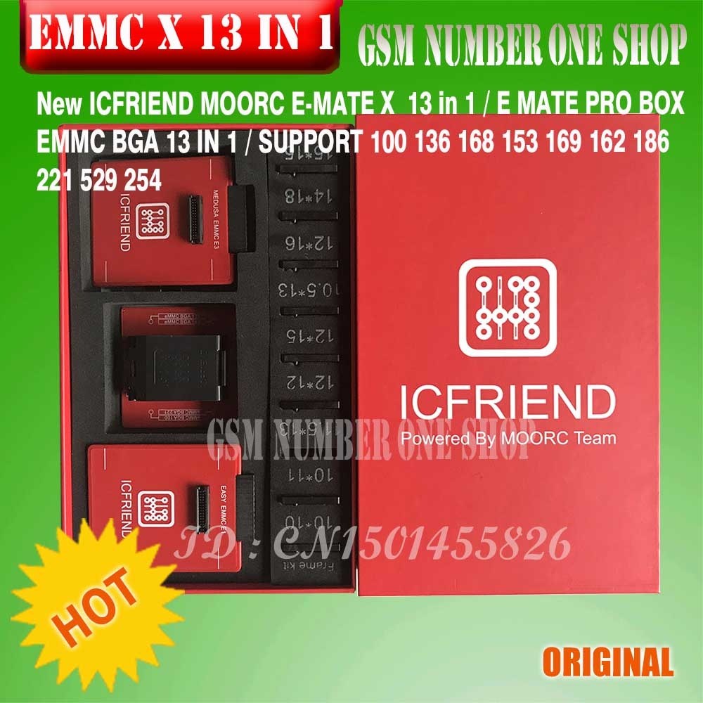 Новейший MOORC высокоскоростной E-MATE X E MATE BOX EMATE EMMC BGA 13in 1 для 100 136 168 153 169 162 186 221 529 254 легкий jtag plus