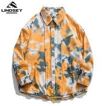LINDSEY SEADER 가을 새 셔츠 남성 캐주얼 두꺼운 긴팔 셔츠 남자 Streetwear 느슨한 모직 자켓 남성 의류