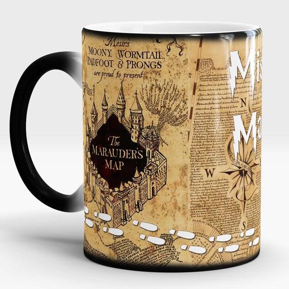 ¡Triangulación de envíos! Mapa de huellas de Marauders taza mágica caliente de calor temperatura de Color sensible-cambio de taza de café té