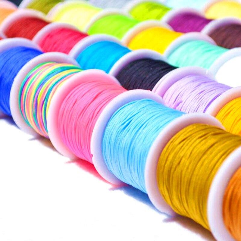 10 м/лот 0,8 мм нейлоновый шнур нить китайский узел макраме шнур браслет плетеный шнур DIY кисточки вышивка бисером нить Ювелирная фурнитура и компоненты      АлиЭкспресс