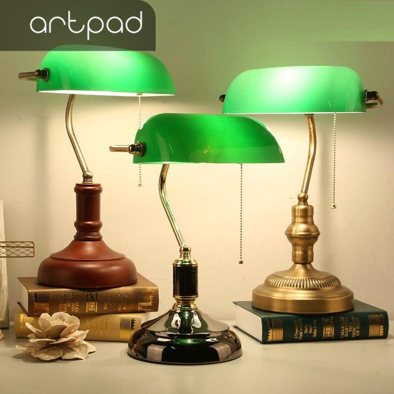 مصباح طاولة عتيق من Artpad بتصميم قديم من الزجاج الأخضر عاكس الضوء 3 ألوان قاعدة حديدية للمكتب للدراسة والمكتب وغرفة النوم وغرفة المعيشة
