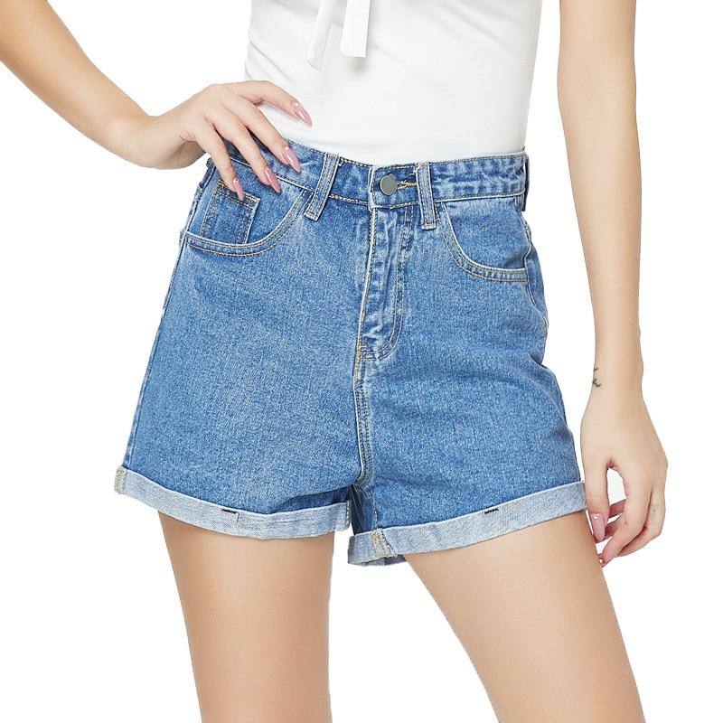 Fashion High Waist Summer Sexy Denim Shorts Women Pocket Button Slim Short Jeans Women Casual Streetwear Shorts Hotpants Slim
