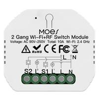 2 gangs bricolage intelligent WiFi RF433 Module de commutation vie intelligente Tuya APP telecommande RF  fonctionne avec Alexa Google Home