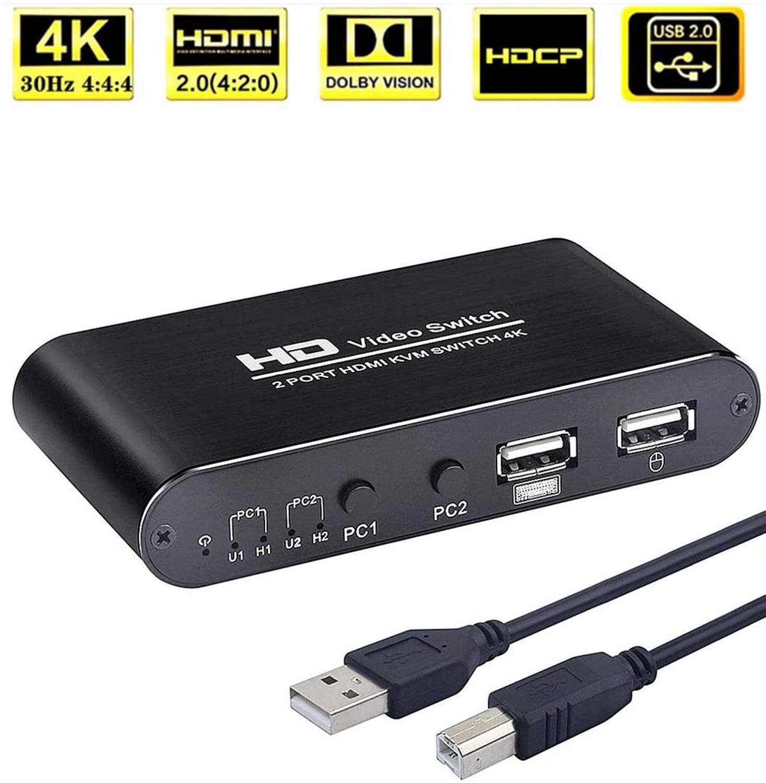 Caja de conmutador KVM HDMI de 2 canales, compatible con 4K a 30Hz (YUV 444), ratón inalámbrico para teclado, un juego de teclado, ratón y pantalla Share 2 uds