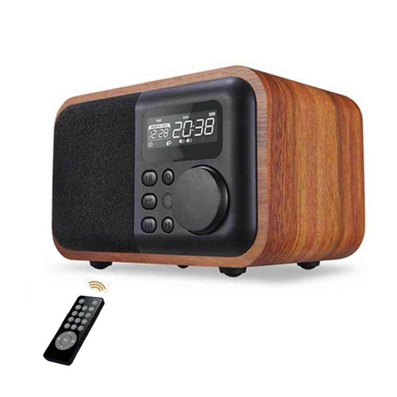 Altavoz portátil inalámbrico De madera con Bluetooth, Subwoofer con Radio FM, despertador,...