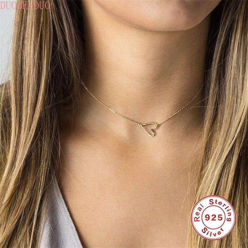 Mini coração gargantilha colares para mulher 925 prata esterlina corrente colar smalll amor pingente colar jóias colgante plata 925
