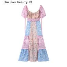 Chu Sau beauté Boho Chic Vintage fleur imprimé Maxi robe femmes vacances Patchwork doux cascade robes Vestidos De Verano