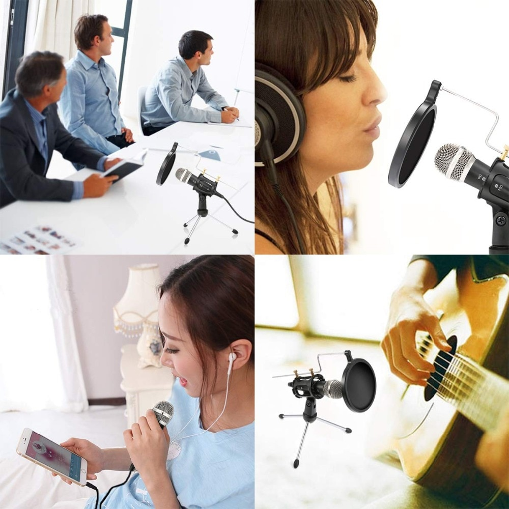 Metal USB Audio Condenser Recording Microphone For Laptop Windows Cardioid Studio Recording Vocals Voice Over,YouTube,Tik Tok enlarge