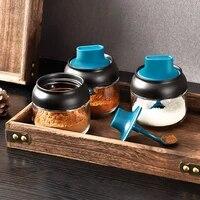 household moisture proof lid spoon integrated seasoning jar multifunctional seasoning box glass seasoning bottle brush oil pot