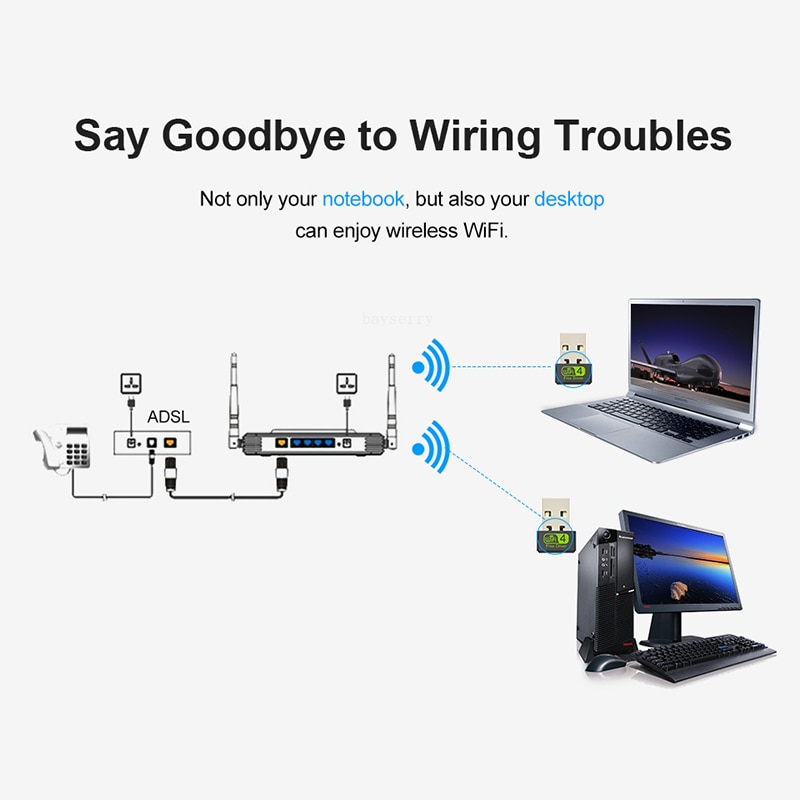 150Mbps Network Mini WiFi Adapter USB WiFi USB Adapter Free Driver Wi Fi Dongle Card Ethernet Wireless Wi-Fi Receiver for PC USB enlarge
