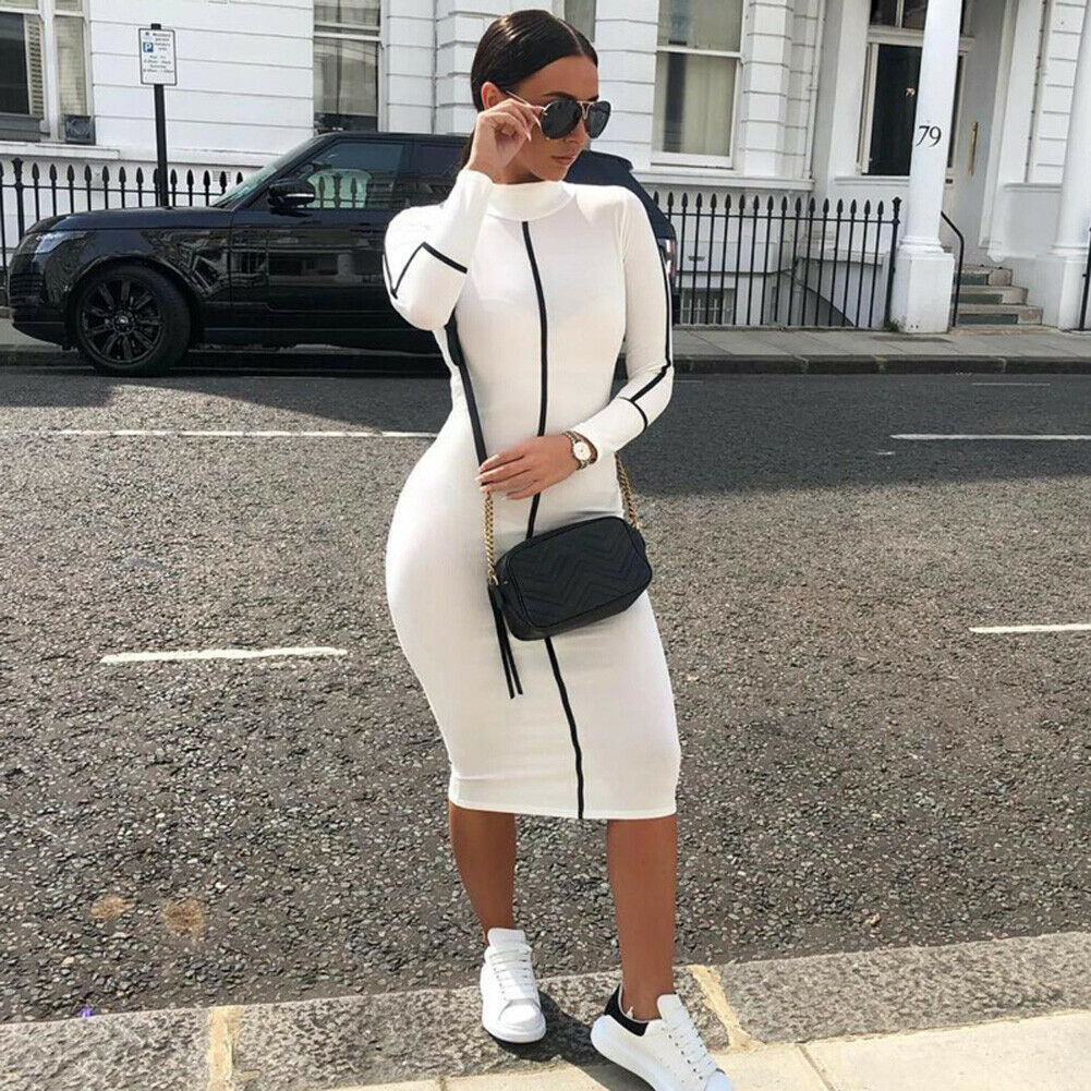 Fashion Women Contrast Color Long Sleeve Temperament Fitness Summer Bodycon Stretch Pencil Dress