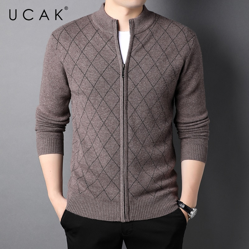 UCAK Brand Classic Casual Pure Wool Cardigans Men Sweatercoat Clothing Streetwear Solid Color Cardigan Male Pull Homme U1375
