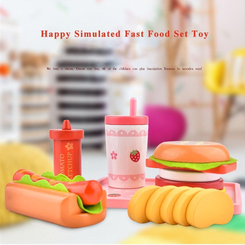 Игрушка Woo кухня игрушка ролевые игры деревянные детские игры кухня имитация бургеров хот-дог игрушки для девочек и мальчиков