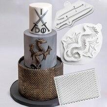 Espadas dragón y dragón escamas molde decoración de tarta Fondant silicona moldes Sugarcraft, Chocolate utensilios de horneado para repostería Gumpaste forma