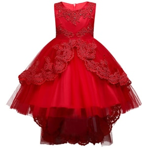 Four Seasons Baby Trailing Children Lace Flowers Performance Clothing Kids Wedding Party Princess Dress for Girls