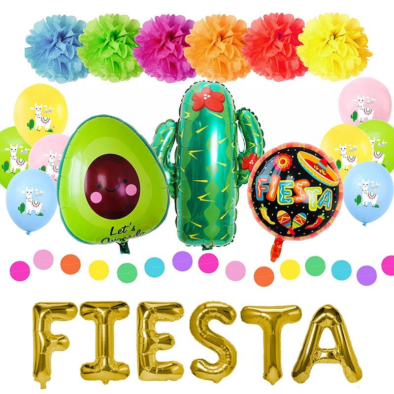 Fiesta Party Decorations Mexican Party Supplies Colorful Llama Alpaca Cactus Fiesta Balloon Banner C