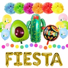 Fiesta Party Decorations Mexican Party Supplies Colorful Llama Alpaca Cactus Fiesta Balloon Banner C
